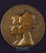 Nurse Edith Cavell And Marie Depage 1915 Large Medallion Obverse Portraits of Nurse Edith Cavell and