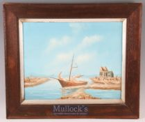 20th century Oil Painting of a Coastal Boat Scene unsigned^ in oak frame^ painting size 50cm x