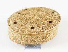 15th c Carved Bone Hinged Box Dated 1488 of oval form with overall carved decoration with repeat