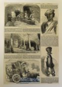 India - Sketches of Native Life in India original page from an Illustrated journal 1853 with