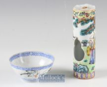 20th century Chinese Porcelain Bird Feeder with enamelled figural design with openings to front