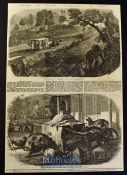 India - Perils of Dawk Travelling in India two original engravings and text 1858 'Appearance of a