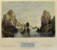 China - 1843 The Shik-Mun or Rock Gates coloured engraving drawn by T. Allom measures 25x20cm approx