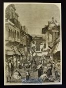 India - The Main Street of Agra original engraving 1858 probably after W. Carpenter with a brief