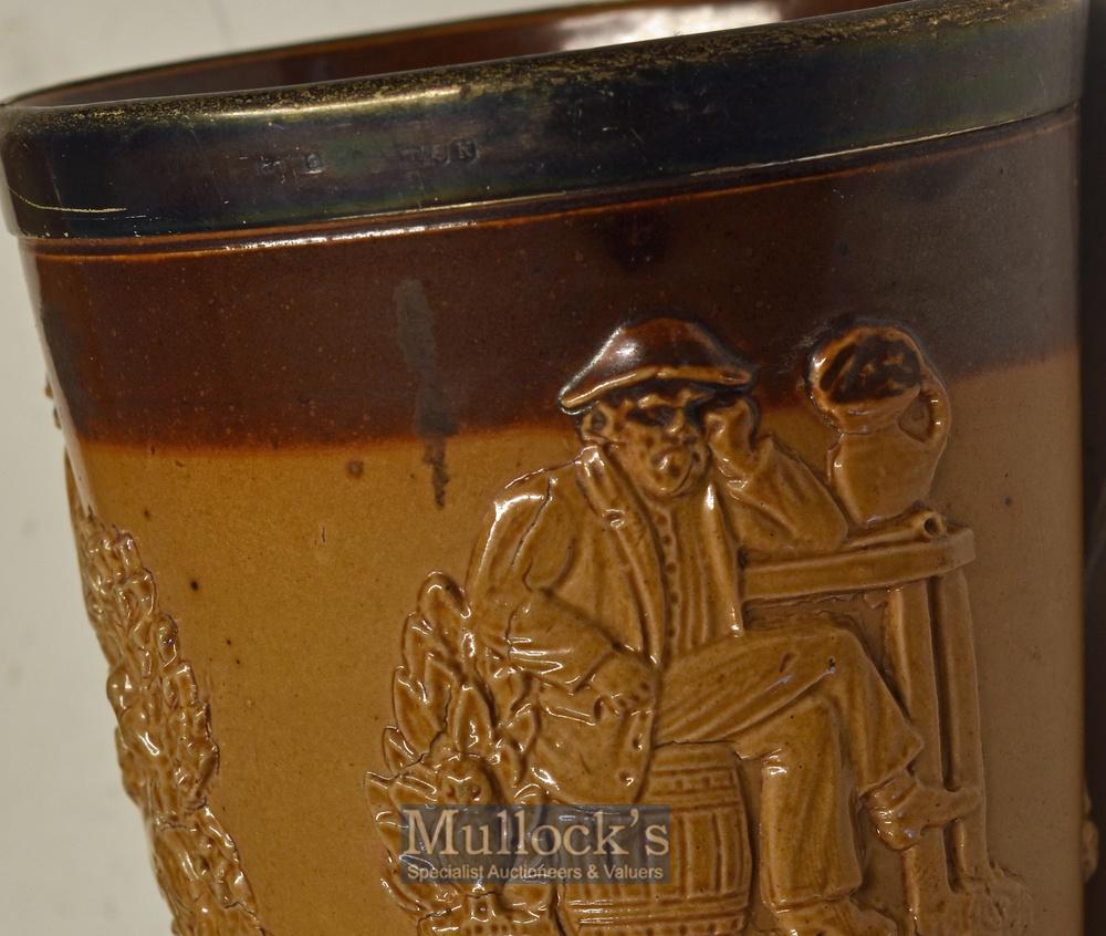 Lot 209 - Royal Doulton – Doulton Lambeth Stoneware Pottery Tobacco Jar and Beaker the tobacco jar marked 7838