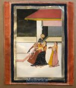 Indian school miniature painting Lord Krishna with women attendants - Painted on gouache with gold &