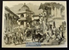 India - The Bazaar Oodipoor Rajpootana original engraving 1858 from a drawing by W. Carpenter with