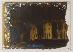 Early Glass Slide depicting a group of gentlemen smartly dressed within a grand room of sort^ some