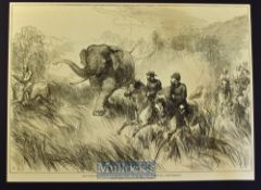 India - Nepal - Two original engravings Hunting a Wild Elephant 34x25cm and Royal Party Chased by
