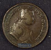 Covent Garden^ Theatre Royal^ Gallery Token 1746 The First Theatre. Obverse; The Duke of Cumberland.