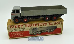 Dinky Toys 501 Foden (1st Type) Diesel 8-wheel Wagon - mid-grey cab^ back^ red flashes and ridged