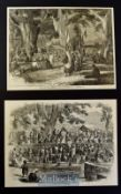 India & Punjab - Two original engravings after W. Carpenter 'A Hindoo Fair in Cashmere' 1858 and A