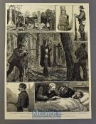Australia - Capture of the Kelly Gang of Australian Bushrangers original illustration 1880 with text