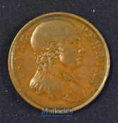 Boxing - Banbury^ Prize Fighting Ring 1789^ Copper Medallion Obverse; Bust of Thomas Johnson.