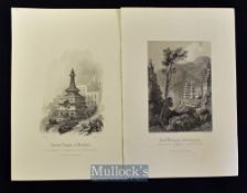 India - c1860 Fourteen steel engravings depicting various scenes such as Exterior of Hindoo