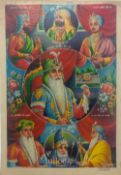 India & Punjab – Maharajah Ranjit Singh Lithograph a fine large rare vintage lithograph of the