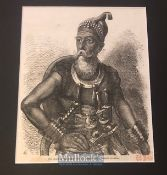 India - 19th century engraving showing a Sikh Akali warrior of the Sikhs. From a drawing by Marshall