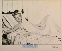 Marilyn Monroe 'Niagara - In Bed' Fine Pencil Drawing – finely executed with 'RF76' signed in pen