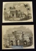 India - Palace of Tanjore from a drawing by T.J. Rawlins 1858 and Gateway Leading into the Palace