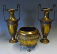 Victorian Aesthetic Brass Vases and Central Jardinière all with fine cast detail and patination^
