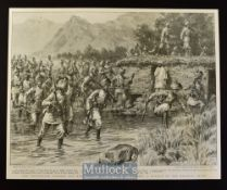 India & Punjab - The Expedition Against the Bunerwals: The 1st Brigade Fording A Branch of the