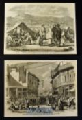India & Punjab - Two original engravings after W. Carpenter 'Street and Bazaar Peshwur' 1858 25x19cm