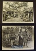 India - Two original engravings to include Rustic scene and Village Life in Bengal 1875^ Dancing