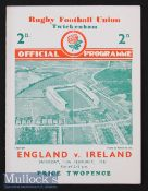 1937 England v Ireland Rugby Programme: In an England Triple Crown/Champs season^ lovely clean