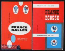 1963 France v Scotland & Wales Rugby Programmes (2): Score marked on first of these mag-type issues.