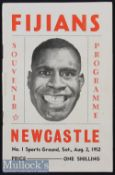 Very rare 1952 Newcastle (NSW) v Fiji Rugby Programme: With startlingly bold Fijian full face cover^