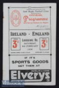 1936 Ireland v England Rugby Programme: Some wear but thoroughly acceptable detailed^ interesting