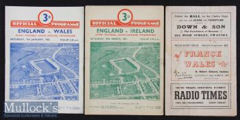 1952 Five Nations Rugby Programmes (3): Grand Slam season for Wales. Issues for England v Wales &