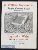 1931 England v Wales Rugby Programme: England champions despite this 11-all draw. Twickenham adopted