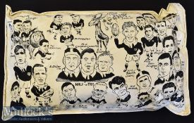 """Very Unusual 1962 British Lions to South Africa Rugby Display Item: b/w plastic cushion^ 18"""" x 12"""" x"""