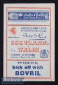 1948 Wales v Scotland Rugby Programme: A 14-0 Wales win and an 8pp Cardiff issue with news^ teams