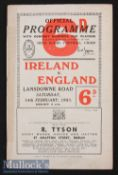 1953 Ireland v England Rugby Programme: England^ Champions to be^ away at Dublin. The issue has