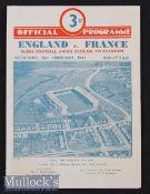 1949 England v France Rugby Programme: Pocket fold on otherwise splendid Twickenham 4pp card