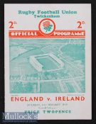 1939 England v Ireland Rugby Programme: Three way Championship tie season^ incl these two nations in