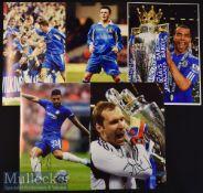 5x Signed Chelsea Colour Photographs Andre Flo^ Cole^ Cech^ Merson^ measuring 30x21cm approx.
