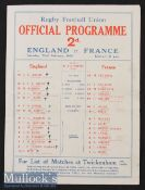 1930 England v France Rugby Programme: England champions^ the 4pp paper issue now with teams to
