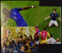 3x Signed France Colour Photographs Pogba^ Giroud etc^ measuring 30x21cm approx.