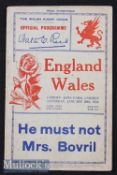 1934 Wales v England Rugby Programme: In an England Triple Crown/Champs season^ the by now