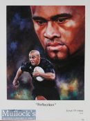 Rugby star the late Jonah Lomu New Zealand All Black colour print: approx 62cm x 48cm^ well framed &
