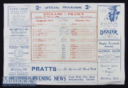 Rare 1926 England v France Rugby Programme: The large double sided 'newspaper-style' Twickenham
