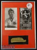 Duncan Edwards Signed Framed Display featuring a signed cutting below two prints^ framed^ measures