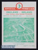 1950 England v Ireland Rugby Programme: Very clean crisp standard Twickenham 4pp issue