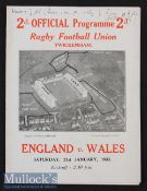 1933 England v Wales Rugby Programme: Famous first Welsh win at Twickenham^ 7-3. Score details