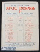1930 England v Scotland Rugby Programme: England champions^ the 4pp paper issue with teams to front^