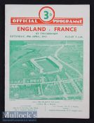 1947 England v France Rugby Programme: England shared the title and this is a lovely clean card to
