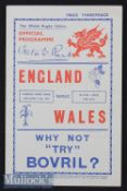 1938 Wales v England Rugby Programme: Beautifully clean 16pp Cardiff issue with interesting pics